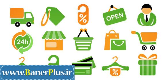 آیکون های خرید و فروشگاه برای طراحی بنر تبلیغاتی