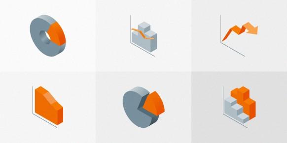 مجموعه آیکون های سه بعدی آمار و اطلاعات