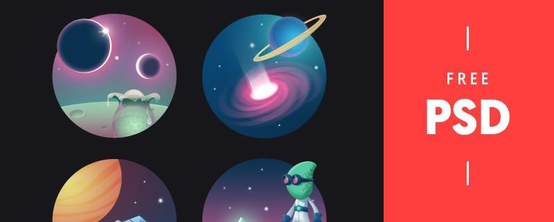 مجموعه آیکون های فضایی