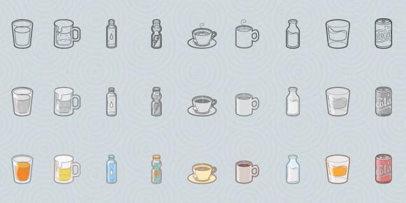 مجموعه آیکون نوشیدنی های متنوع